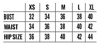 Yoke Dress Size Chart Squasht Boutique
