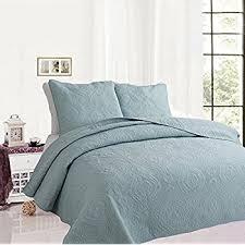 Amazon.com: Solid color 3-Piece Quilt Set 100%Cotton, Bedspread ... & Solid color 3-Piece Quilt Set 100%Cotton, Bedspread Set, Finely Stitched Adamdwight.com