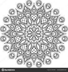 Mandala Patroon Zwart Wit Goed Humeur Stockvector Tamsamtam
