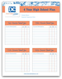 4 Year College Plan Template Four Year High School Plan Template School Plan