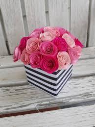 Paper Flower Centerpieces At Wedding Spiral Rose Centerpiece Paper Flower Centerpiece Shade Of Pink Centerpiece Wedding Shower