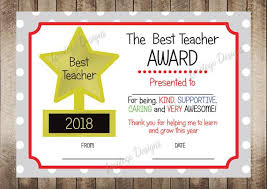 Best Teacher Certificate Templates Free Printable Teacher Appreciation Certificate Teacher Thankyou Etsy