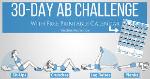 30 Day Ab Challenge With Free Printable The Quiet Grove