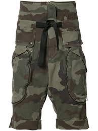 Mens Designer Cargo Shorts Sale Faith Connexion Camouflage Print Cargo Shorts Green Men