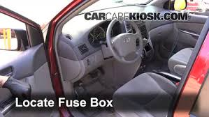 interior fuse box location 2004 2010 toyota sienna 2008 toyota locate interior fuse box and remove cover