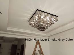 fumat european square shaped crystal chandelier led light pendant hanging lights for hotel villa home