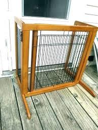 freestanding dog gate pet gates indoor w paw cut out wood wooden with door freestanding dog gate