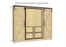 diy entertainment center with barn doors