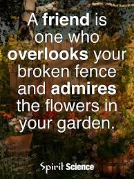 Fence Quotes A friend is one who overlooks your broken fence and admires the 88