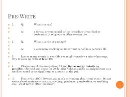 freshman senior essay ppt video online q what is a rite
