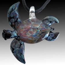 large black amber purple sea turtle pendant hand blown glass