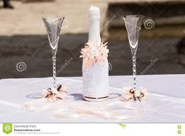Champagne Bottle Decoration Decorated Wedding Glasses And Bottle Of Champagne Stock Photo