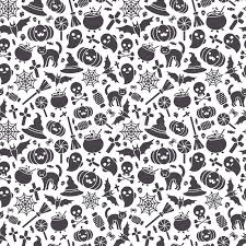 Halloween Pattern Best Halloween Seamless Pattern Black Icons On White Stock Vector