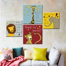 canvas prints for baby room. Modern Canvas Art Print Poster Cartoon Animal Painting For Kids Baby Room Wall Pictures Oil Paint Prints C
