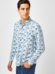 Buy Indigo Nation White Floral Print Slim Fit Shirt For Men