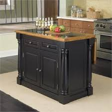 MER 1185 Bowery Hill Roll Out Leg Kitchen Island In Black And Oak