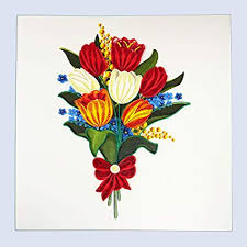 Paper Quilling Flower Bokeh Quilling Tulip Flower Bouquet Greeting Card For All Occasions Birthday Love Anniversary Good Bye Thank You Mother Day Valentine Friendship