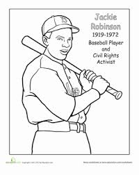 Small Picture Color Jackie Robinson Worksheet Educationcom
