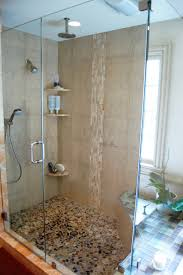 Ceiling Waterfall Head Shower With Corner Shower Caddy Addition And Stones  Floor Accent