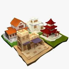 Low Poly Ancient Cartoon Houses Collection 3d Model