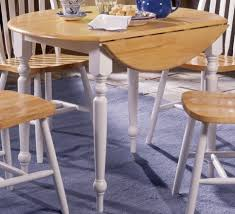 Small Round Drop Leaf Dining Table With White Painted Legs