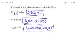 1 billion in standard form 7th math c2 l47