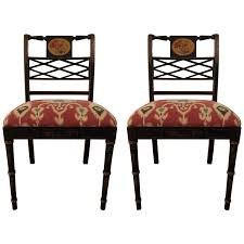 Viyet Designer Furniture Seating Antique Regency Style Ebonized And  Polychromed Side Chairs Regency Style Furniture E38