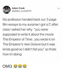 adam cook my professor handed back our page film essays to my  emperor s new groove fail and omg adam cook adam cook2014 my professor handed