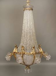 nice early 20th century gilt bronze and crystal basket chandelier
