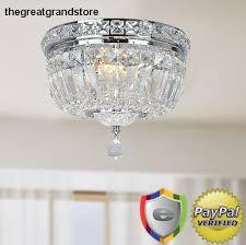 crystal chrome glass lighting fixture flush mount ceiling 2 light dining room