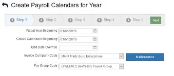 Annual Pay Calendar Setup