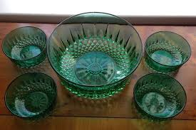 vintage arcoroc french green glass bowl and 4 small dishes