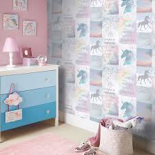 Einhörner Pferde Tapete Kinder Mädchen Schlafzimmer Lila Rosa Weiß