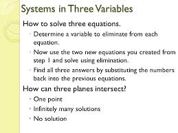 9 systems in three variables how to solve three equations