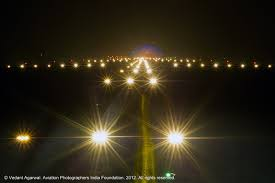 runway 28 lighting at igi airport new delhi india