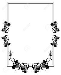 縦シルエット フラワー フレーム抽象的な花のシンプルな黒と白のフレームベクター クリップ アート
