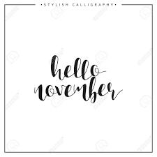 Bonjour Novembre Lautomne Période De Lannée Phrase En Anglais Calligraphie Main élégant Calligraphique Moderne Calligraphie Elite