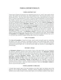 Business Report Format Template Formal Business Report Template