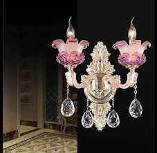 fancy pink purple murano glass wall lamp with k9 crystal pendent living room wall sconce lighting