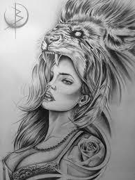 девушка со львом эскиз для тату на бедре эскиз тату мастера вики