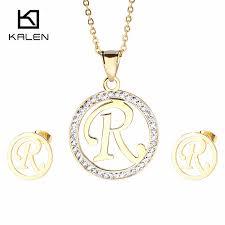 kalen newest women stainless steel jewelry set dubai gold plated capital letter n z pendant necklace earrings girls jewelry sets jewelry celeb