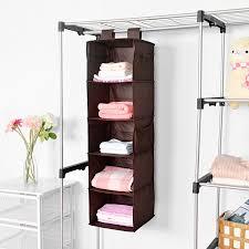 5 Shelf Hanging Closet Organizer MaidMAX Brown Hanging Accessory