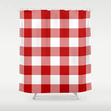 red and white buffalo check shower curtain