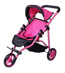 Precious Toys Jogger Hot Pink Doll Stroller Black Foam Handles And Hot Pink Frame 0129a