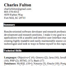 charles fulton resume skills section of resume examples