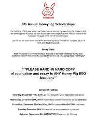 scholarships honey pig korean bbq honey pig has given away over 100 000 in scholarships to students in need in the dmv area we are thankful for our loyal customers who able our desires to