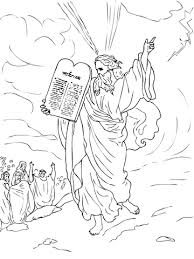 Small Picture Moses Comes Down from Mount Sinai with Ten Commandments coloring
