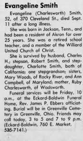 Obituary for Evangeline Smith (Aged 52) - Newspapers.com