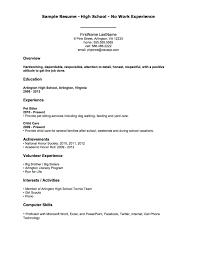 High School Student Resume Samples With No Work Experience Menu