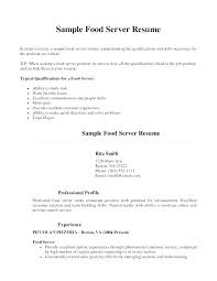 Food Server Resume Samples